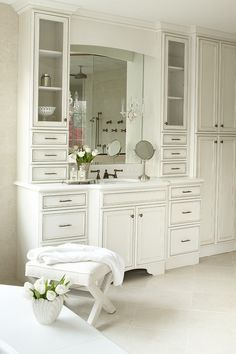 floor to ceiling white bathroom cabinets Bathroom Renos, White Bathroom, Small Bathroom, Master Bathroom, Single Sink Bathroom Vanity, Bathroom Vanities, Bathroom Storage, Bathroom Ideas, Bad Inspiration