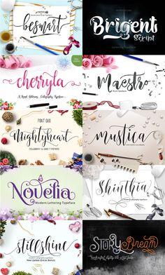 The Crafters Font Bundle - Vol 03 | Cursive & Script Fonts on TheHungryJPEG.com | 8475