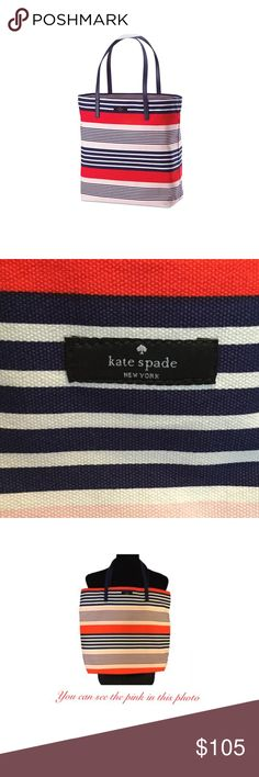 """Kate Spade Tote New Kate Spade New York Tote Bag. The straps are Navy Blue and the Tote is White with Red, Blue and Pink Stripes. It measures 15""""L x 3.5""""W x 22""""H. kate spade Bags Totes"""