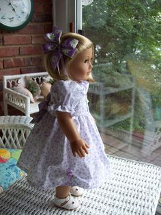 American Girl Doll or 18 inch doll dress, slip and hairclip. Lilac flowers print with dot contrast.