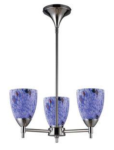 ELK Lighting Celina Celina 3-Light Chandelier In Polished Chrome And Starburst Blue Glass - 10154/3PC-BL