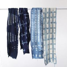 peone:  Vintage&Blanket African Indigo Fabric Stole | Silver and Gold