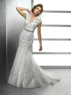 New lace Wedding dresses white ivory V collar Embroidery sash Mermaid Bride gown
