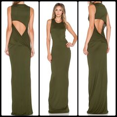 """HAUTE HIPPIE  Open Back Maxi  NWT Saturated in verdant color, this modal-jersey maxi dress makes a head-turning statement with its svelte column silhouette and daringly low, twist-shaped back cutout. 59"""" length (size Medium). Unlined. 100% modal. Dry clean. By Haute Hippie; made in the USA. NWT - size Large fits M - L Haute Hippie Dresses Maxi"""