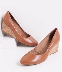 Sapato Feminino Bottero Anabela em Couro   - Lojas Renner