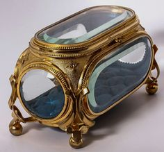 Antique French Deep Beveled Glass Jewelry Box, Casket, Brilliant Dore antiques jewelry French Kiln Fired Enamel Jewelry Casket, Box, Lily of the Valley Glass Jewelry Box, Jewellery Boxes, Enamel Jewelry, Jewelry Holder, Jewellery Storage, Silver Jewelry, Silver Earrings, Jewellery Designs, Silver Bracelets