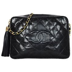 1375d4a3e9dc Chanel Vintage  89- 91 Navy Lizard Quilted CC Camera Crossbody Bag w. Tassel