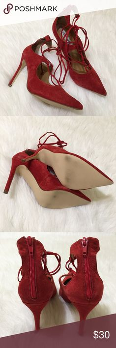 Steve Madden Suede Pointed Toe Heels Never worn but soles are slightly dirty from sitting around in the store. No box. Suede is in good overall condition but there is loose thread along the strings! Bought them just as described in photos! Size 7.5 and true to size. Just not my style. Will take reasonable offers! Steve Madden Shoes Heels