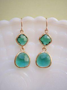 Emerald Green Glass Earrings $36