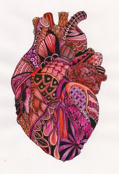 Patterns change to emphasize shape Sagrado Corazon Tattoo, Frida Art, Medical Art, Anatomy Art, Heart Anatomy, Anatomical Heart, Foto Art, Arte Popular, Doodle Art