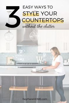 3 Easy kitchen counter decor ideas to add style to your kitchen without the clutter! #kitchendecor #decoratingideas #functional #clutterfree #kitchen #homedecor via @heytherehome