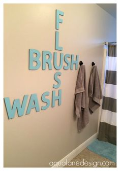 Half bathroom ideas and they're perfect for guests. They don't have to be as functional as the family bathrooms, so hope you enjoy these ideas. Update your bathroom decor quickly with these budget-friendly, charming half bathroom ideas # bathroom Ideas Baños, Decor Ideas, Hanging Letters, Bathroom Kids, Bathroom Wall, Glass Bathroom, Peach Bathroom, Bathroom Layout, Bathroom Cabinets