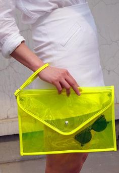 Oversize Clear Envelope Clutch Purse Bag / Yellow Transparen from EastWorkshop