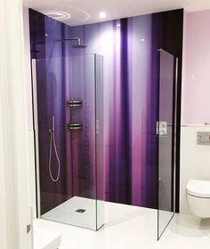 purple Bathroom Decor Purple printed glass shower splashback from Richard Osbournes Kinetic Abstracts Collection. Bathroom Spa, Glass Bathroom, Bathroom Ideas, Shower Splashback, Purple Bathrooms, Bedroom With Ensuite, Glass Shower Doors, Beautiful Bathrooms, Printed