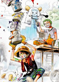 This was one of the best colour pages Oda-sensei has ever made. And I would love to join Ruffy and Zoro painting :D