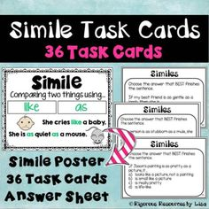 Figuring out the meaning of Similes - Simile Task Cards