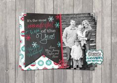 Printable Photo Card: It's the Most Wonderful Time of the Year, Merry Christmas Greeting Card, Happy 2015 chalk, #325 Digital File or Prints