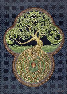 Celtic Tree of Life x Woven Tapestry - Irish, Scottish, Yggdrasil - Celtic Tree of Life 26 x 36 Woven Tapestry The Tree contains the 7 Celtic life forms, Plant, Insect - Celtic Symbols, Celtic Art, Celtic Decor, Celtic Mandala, Celtic Dragon, Celtic Patterns, Celtic Designs, Fantasy Kunst, Fantasy Art