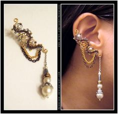 Steampunk Pearl Ear Cuff