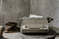 Leave a note: The house was abandoned in too much of a hurry for the owners to type a letter on this vintage typewriter