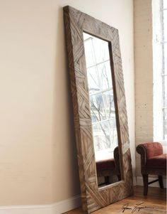 DIY large standing floor mirror from scrap wood and old closet ...