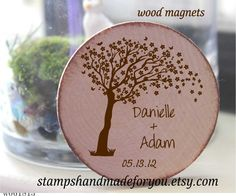 Rustic Wedding Favor Wood Magnets-60  save the date or rustic wedding favor-blossom tree nature theme by stampshandmadeforyou on Etsy