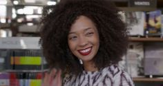 Afro hair big 3c curls natural red lipstick