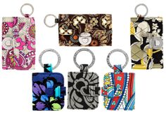 VB Mirror Keychains in Assorted Patterns - Clockwise from 12 o'clock:  Canyon, Dogwood, Marina, Baroque, Indigo Pop, and Paisley in Plaid