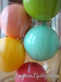 clear balls with acrylic paint inside--love the colors!