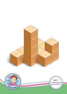 Bouwkaart 1 moeilijkheidsgraad 4 voor kleuters, kleuteridee, Preschool card building blocks with toddlers 1, difficulty 4, free printable