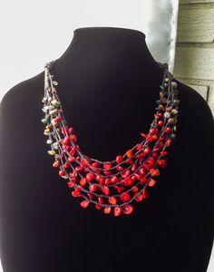 Folk Theme Multi-strand Necklace Polish Wedding India by Adanemi