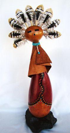 "*Gourd Art - ""Standing Kachina"" by Rosario Wilke Studio Spanish Village Art Center Balboa Park, San Diego, CA Native American Masks, Native American Artwork, Native American Crafts, Decorative Gourds, Art Stand, Painted Gourds, Gourd Art, Southwest Decor, Native Art"