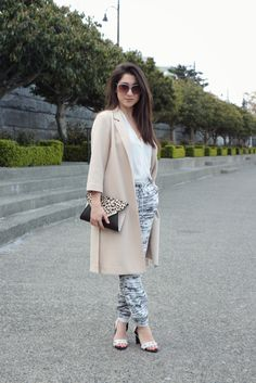 Spring outfit featuring the duster jacket, dynamite style printed pants, aldo heels, clutch and shades!