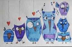 i #gufi, #illustrazione ad #acquerello di LabLiu su #Etsy #blu #owl