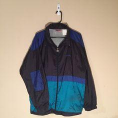 90's VTG Spalding Windbreaker Blue/Black/Aqua