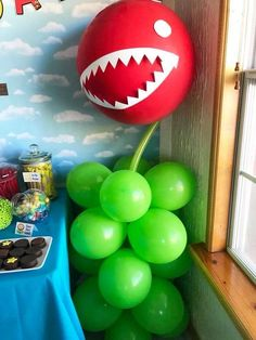 The decor at this Mario Birthday Party is so cool! See more party ideas and shar… The decor at this Mario Birthday Party is so [. Super Mario Party, Bolo Super Mario, Super Mario Birthday, Mario Birthday Party, Kids Birthday Themes, 6th Birthday Parties, Birthday Party Decorations, 7th Birthday, Mario Party Games