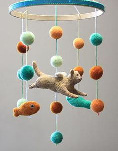 Fiber Friends | Felt Mobiles for Baby and Beyond A custom kitty angel mobile for baby's room