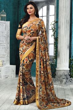 Fawn Georgette Printed Saree With Blouse From Skysarees.
