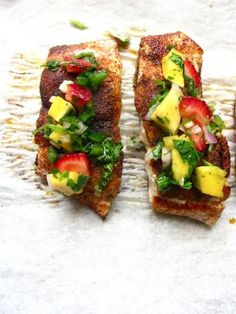 Another great meal tonight! Pan Seared Red Snapper Tacos with Strawberry-Mango Salsa Fish Recipes, Seafood Recipes, Cooking Recipes, Healthy Recipes, Mexican Recipes, Strawberry Mango Salsa, Red Snapper Recipes, Fun Foods To Make