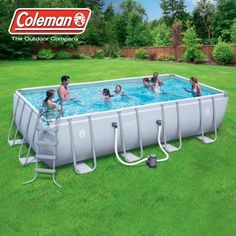 Coleman Power Steel 18 X 9 48 Inch Rectangular Frame Swimming Pool Set With Filter Pump Ladder Cover And Maintenance Kit