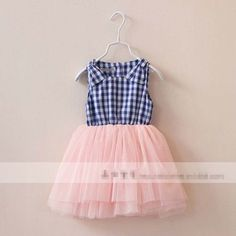 New arrival fashion summer baby cotton sundress kids girl patch plaid dress princess ruched yarn ball dress 3916