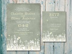Custom listing for Katie - Digital - Printable - Autumn Field Wedding Invitation and Reply Card Set - Wedding Stationery. $30.00, via Etsy.
