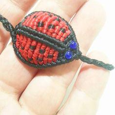 macrame ladybug bracelet                                                                                                                                                      More