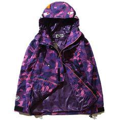 A Bathing Ape Camo Zip Shark Jaw Bape Camouflage Windbreaker Jacket Hoodie Coats Camo Bomber Jacket, Hoodie Jacket, Bomber Jackets, Purple Camo, Dark Purple, Camouflage Coat, Sports Hoodies