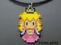 Princess Peach Necklace Video Game Jewelry Pixelated by Pixelosis Pixel Art, Pony Bead Crafts, Peach Necklace, Princesa Peach, Art Perle, Brick Stitch, Bead Art, Bead Weaving, Perler Beads