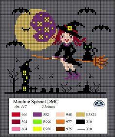 Dmc free pattern cross stitch Halloween witch broom cat cemetery