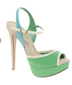 green, white pipping sandals