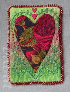 There's no place like Home...  Fabric ATC (Artist Trading Card)