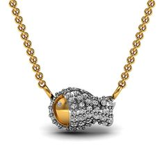 H-SI Diamond Pave FISH Charm Pendant Solid 14k Yellow Gold Jewelry GIFT FOR HER #raj_jewels