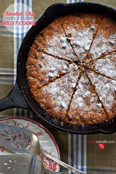 Yes please!! Chocolate Chip Peanut Butter Skillet Cookie {gluten free} | Irresistible!! MarlaMeridith.com #recipe